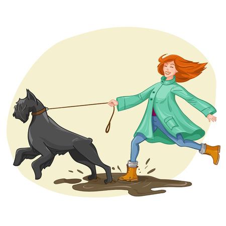 Young woman walk, run with big black dog.