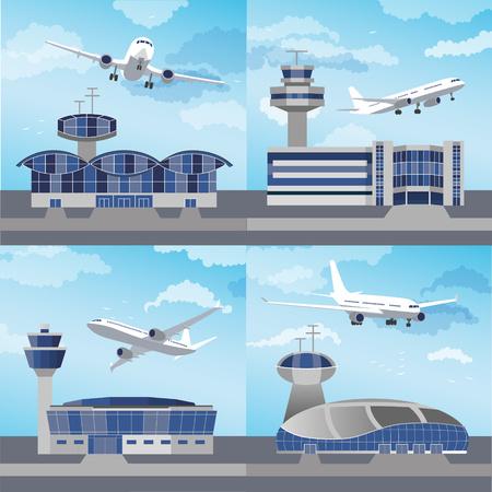 컨트롤 타워 ANS 평면 설정 공항 건물입니다. 플랫 디자인.