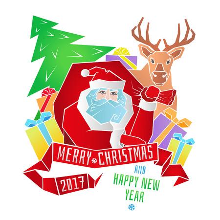 메리 크리스마스. 선물, 크리스마스 트리 및 리본 메뉴와 인사말의 가방 산타 클로스. 새해 복 많이 받으세요.