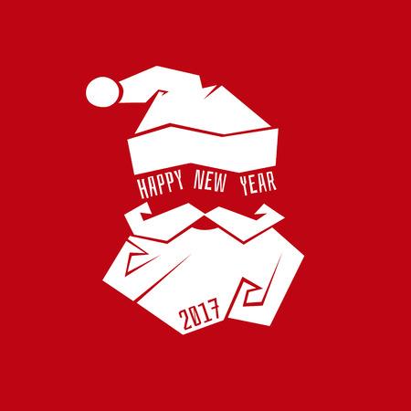 산타 클로스 모자와 수염 템플릿, 크리스마스, 새 해 인사말 카드입니다. 산타 클로스. 일러스트