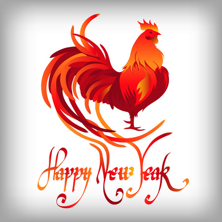 year greetings: Red rooster, symbol of 2017 on the Chinese calendar. Happy new year 2017 card for your greetings card.