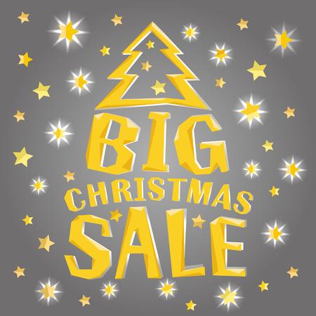 나무와 골드 스타와 함께 큰 크리스마스 판매. 일러스트