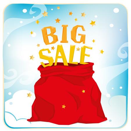 큰 크리스마스 판매와 함께 전체 산타 클로스 가방입니다. 일러스트