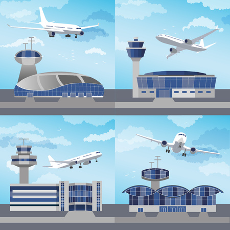 Airport building set with control towers ans planes. Flat design. Vector Illustration 일러스트