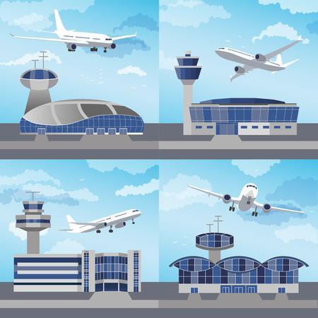 공항 건물 제어 탑 ans 비행기를 사용 하여 설정합니다. 평면 디자인. 벡터 일러스트 레이션