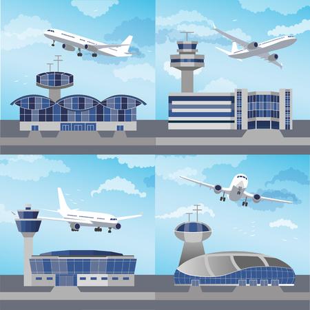 공항 건물 제어 탑 ans 비행기를 사용 하여 설정합니다. 평면 디자인. 벡터 일러스트 레이션 일러스트