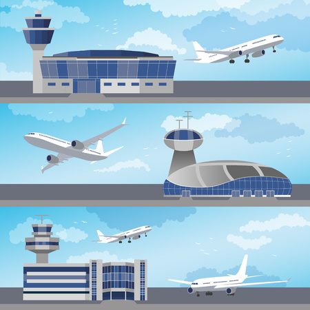 Airport building set with control towers ans planes. Flat design. Vector Illustration Illustration