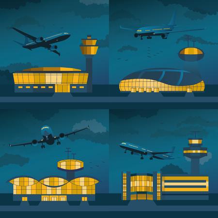 컨트롤 타워 ANS 평면 설정 밤 공항 건물입니다. 플랫 디자인. 벡터 일러스트 레이 션