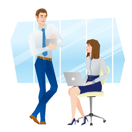 ceo office: Business team at the talks. Vector illustration