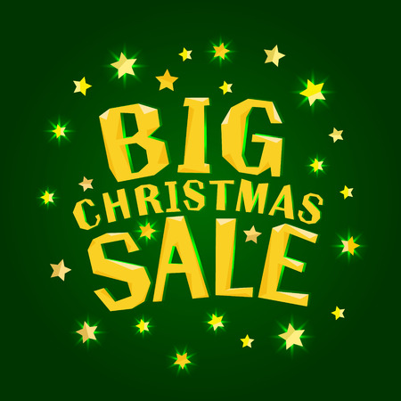 Big christmas sale with gold stars. Christmas vector card, poster, banner Ilustração