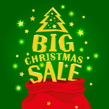 大きなクリスマス セールでサンタ クロースの袋の完全な。ベクトル図