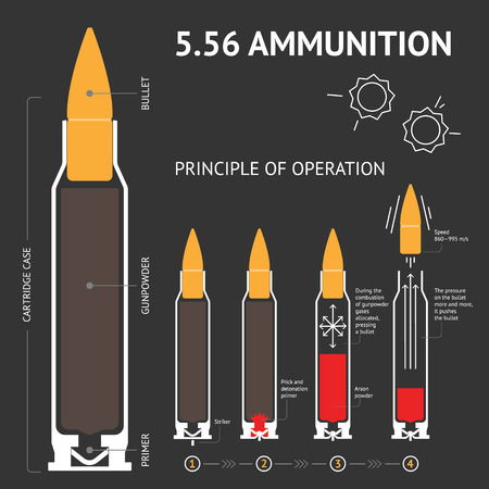 Infographics about the principle of bullet operation. Vector Banco de Imagens