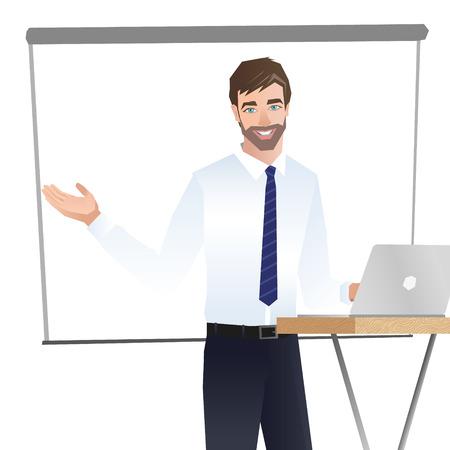 プレゼンテーションを作るビジネスの男性。ベクトル 写真素材