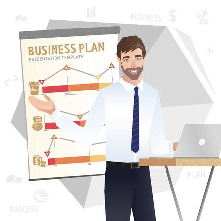 Business man making a presentation. Vector Banco de Imagens