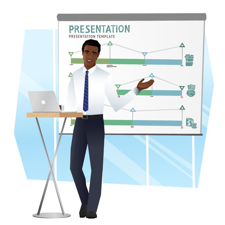 Business man making a presentation. Vector 스톡 콘텐츠