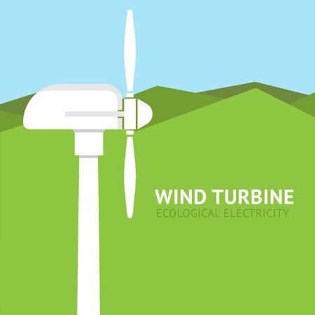Landscape with wind turbine. Vector Banco de Imagens
