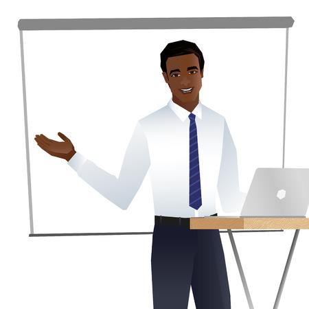 プレゼンテーションを作るビジネスの男性。ベクトル  イラスト・ベクター素材