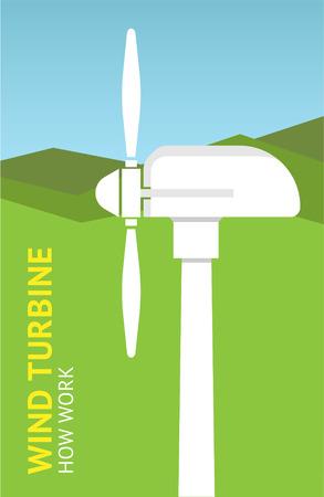 Landscape with wind turbine. Vector illustration Ilustração
