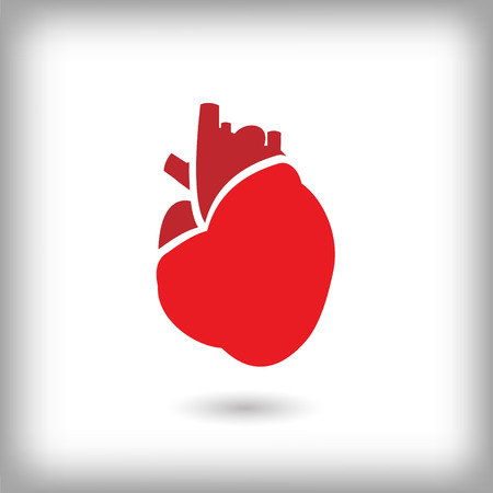 Human red heart icon. Vector