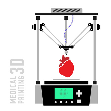 Medical printer for human organs replicated. 3D Bio-printer.Vector Illustration