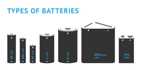 Set with different types of batteries. Vector  イラスト・ベクター素材