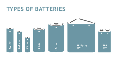9v battery: Set with different types of batteries. Vector Illustration