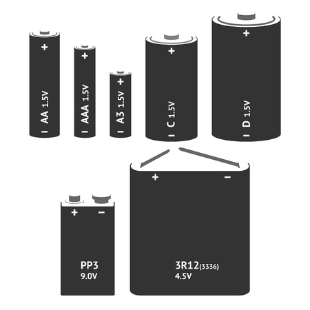 Set with different types of batteries. Vector Vectores