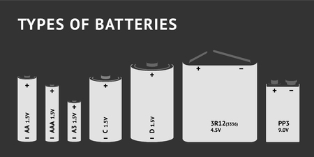 Set with different types of batteries. Vector 일러스트