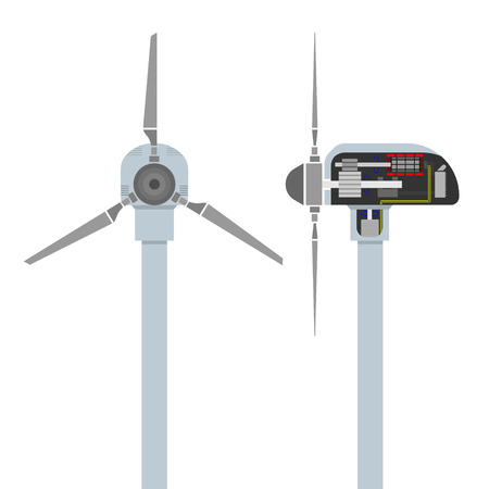 Infographics - how work a wind turbine. Vector
