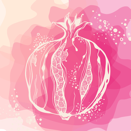 Background with pastel stylized pomegranate. Vector