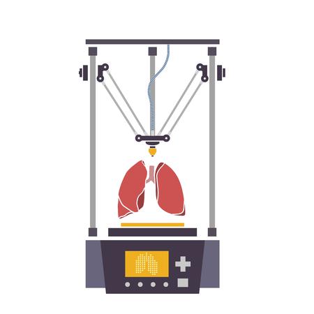 인간 기관용 의료용 프린터가 복제되었습니다. 3D 바이오 프린터. 벡터 일러스트