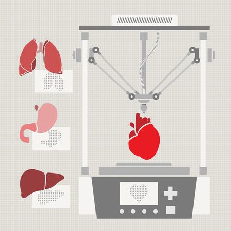 複製人間の臓器の医療プリンター。3 D バイオ-プリンター。ベクトル  イラスト・ベクター素材