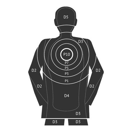 Black outline human target shooting. Vector