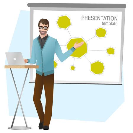 プレゼンテーションを作るビジネスの男性。チームのビジネス ・ トレーニングベクトル図  イラスト・ベクター素材