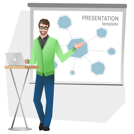 Business man making a presentation. Business team training. Vector illustration 일러스트