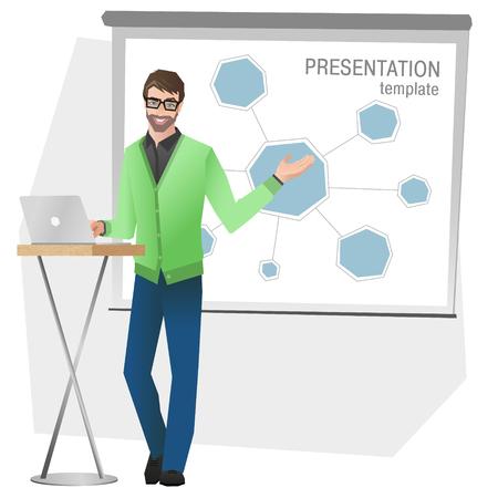 Business man making a presentation. Business team training. Vector illustration Ilustração