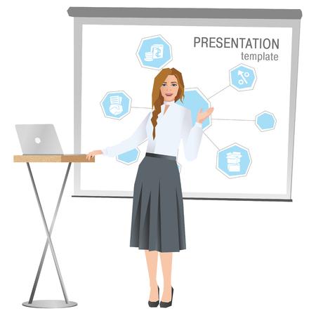 プレゼンテーションを作るビジネスの女性。チームのビジネス ・ トレーニングベクトル図