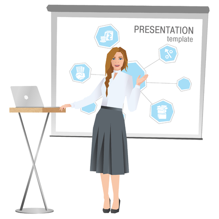 Business woman making a presentation. Business team training. Vector illustration