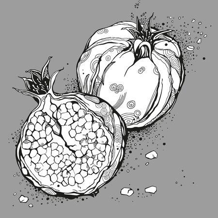 Stylized garnet or pomegranate. Black vector illustration
