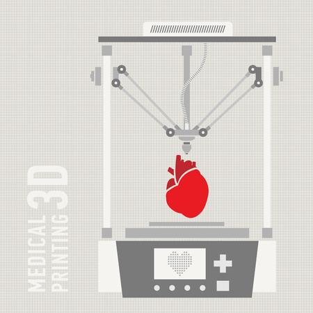 Medical printer for human organs replicated. 3D Bio-printer. Vector