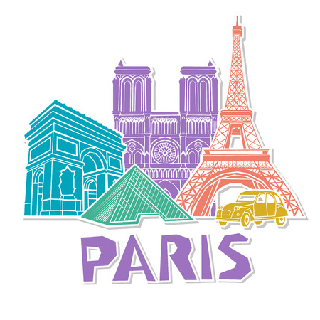 Paris travel icon set. Vector Ilustração
