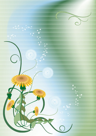 Banner with dandelion. Background. Banner. Wallpaper. Vector
