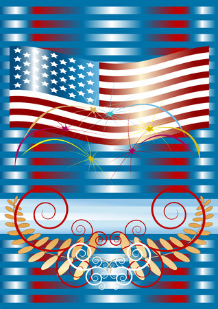 Fireworks  with American flag . Placard. Background. Vector