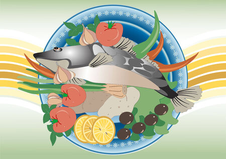 commercial painting: Delicious fish and vegetable products for seasoning. Painting.Banner. Illustration