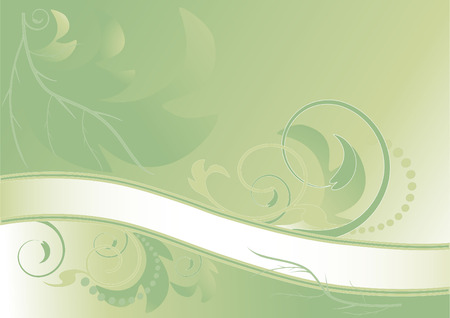 fascia: Abstract green floral banner.   Background .Banner