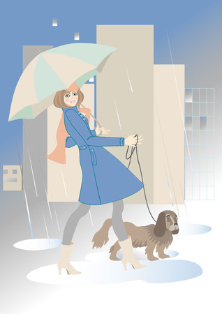 Young woman walking with a dog in the rain.Illustration. Vector