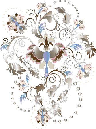 flowered: Abstract Persian pattern for fabric. Illustration.