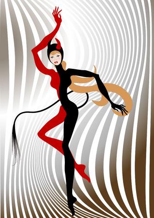 cola mujer: eautiful mujer vestida de costume.Illustration de diablo.  Vectores