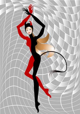 seducer: Pretty  reddish  woman dressed in Devil costume.Illustration.