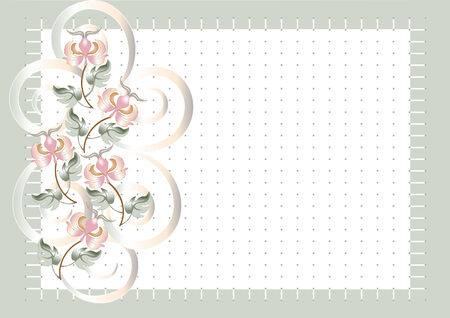 Background grid  with flowers.Postcard . Stock Vector - 7010546